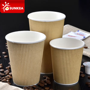 O design do logotipo personalizado de papelão descartáveis impresso na parede de ondulação de papel quente chávena de café