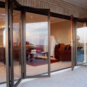 Estándar de aluminio Bi-Folding australiano de gama alta de la puerta de doble acristalamiento con vidrio