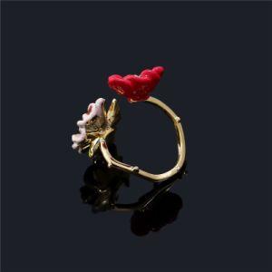 Bisutería Flor esmalte ajustable de zirconio Anillo de Compromiso regalos para niñas