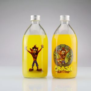 350ml 500ml Glassaft-Flasche mit Aluminiumkappe mit Abziehbild