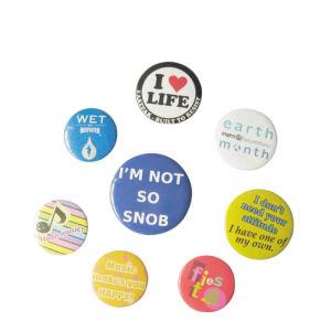 Estaño/impresión personalizada de la hojalata/botón plástico distintivo (017)
