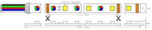 Ce Epistar UL 5060+5050 SMD RGB+W TIRA DE LEDS flexible