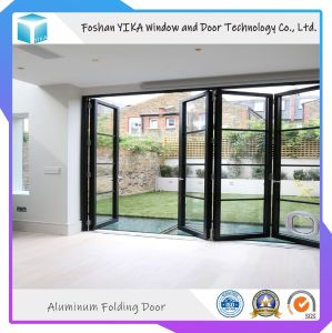 Calidad garantizada de aluminio con recubrimiento PVDF acristalamiento doble puerta Bifolding