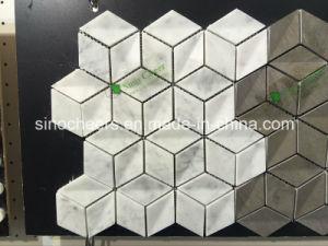 Polierdiamant-Form-weißes Marmormosaik für Wand und Fußboden