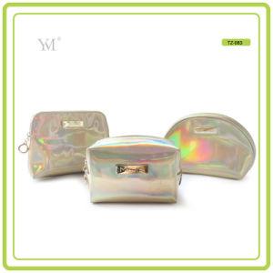 Sacchetto cosmetico di cuoio lucido di trucco del PVC di corsa su ordinazione del nuovo prodotto