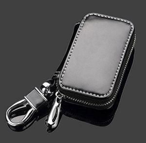 까만 우수한 가죽 차 열쇠 고리 동전 홀더 지퍼 상자 먼 지갑 부대