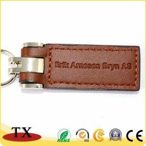 Фантазии прямоугольник цепочки ключей из натуральной кожи с логотипом штампа