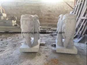 De goedkopere Gravure van de Steen van de Standbeelden van de Tuin Dierlijke, Beeldhouwwerk van de Olifant van het Graniet van Zuidoost-Azië het Grijze
