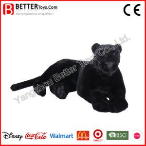 Giocattolo nero molle realistico della pantera della peluche del leopardo dell'animale farcito per i capretti