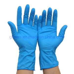 Guantes de nitrilo azul sin látex sin polvo guantes desechables no estériles con textura para el uso de la familia