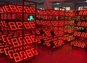 LED de 6 pouces écran Changeur de prix du gaz (NL-TT15F-2R-DR-4D-rouge)