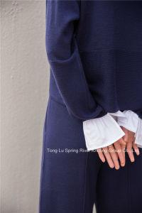 低下の肩の袖によって編まれる袖口レディースウールのセーター