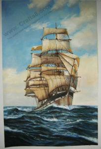 Zeegezicht & Boot die Met de hand gemaakte -100% & de Kwaliteit van het Museum schilderen
