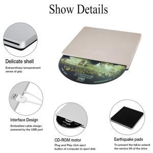 Внешний USB-устройство записи компакт-дисков DVD плеер для портативного компьютера/PC/Mac (Gold)