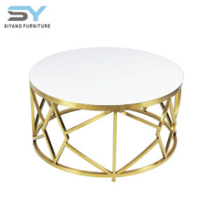 Mobiliário de aço inoxidável White mesa de café Glam tabela Tabela Sofá