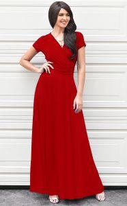 Dress Short Sleeve V首Flowy女性のセクシーな帽子の女性カクテルのガウンの服