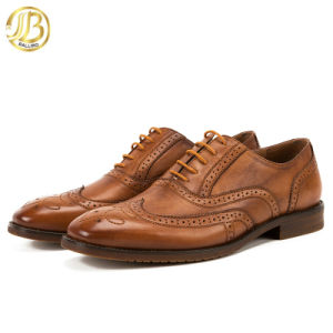 La moda casual Oxford suela de cuero genuino Brogues zapatos