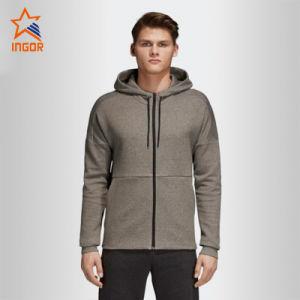 La Mens Plain Gimnasio mayorista de ropa de deportes Jersey activo cremallera completa chaqueta gris