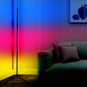 Qué tan brillante negro nórdico Lámpara de pie de la esquina de Control Remoto de Dormitorios Decoración de atenuación de la luz de la noche cambia de color RGB LED lámpara de piso Stand moderno