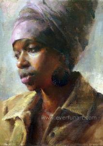 熱い販売のキャンバスの芸術のハンドメイドの女性のアフリカの絵画(EIF-131)