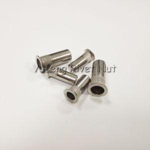 Noix plafonnée de rivet d'acier inoxydable avec le corps moleté principal fraisé