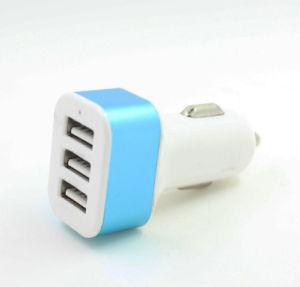 Cargador triple del coche del USB 3 para el teléfono celular con el indicador del LED