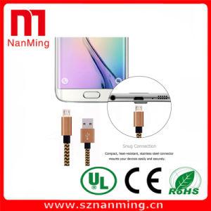 Cable del cargador del adaptador de sincronización trenzada Tela USB micro