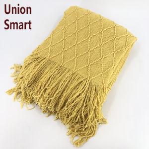 Manta de color amarillo sólido Sofá Sofá de textura suave Manta de Tejidos decorativos