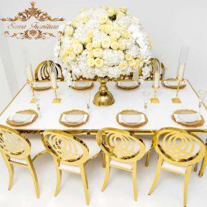 Caso banquetes da estrutura de aço inoxidável da festa de casamento Cadeira de jantar