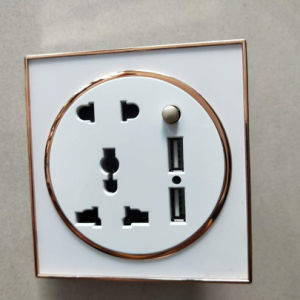PC Electroplate estilo británico de oro tallada 1 Módulo de MF 5 pin hembra Electric Interruptor de pared con USB