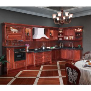Rojo cereza Oppein madera maciza Muebles de Cocina (OP12-L002 ...