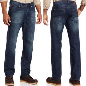 青い人の綿の伸張の基本的な洗浄方法洗浄カジュアルウェア細い適合のまっすぐなデニムのジーンズ