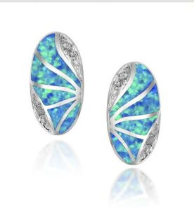 925 orecchini dell'argento sterlina con l'opale (LOP1095)