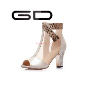Talon Chunky Mesh bottes bottes pour femmes de boucle avec Peep Toe