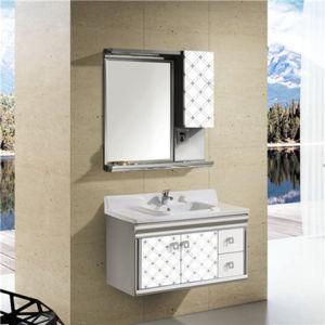 Armário de casa de banho de aço inoxidável com compartimento lateral (T-9586)