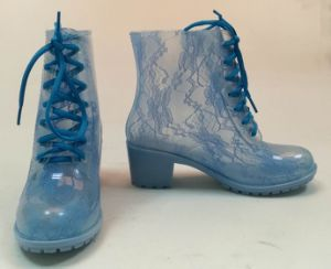 Популярный стиль женские прозрачные ПВХ дождя ботинки, Датчик дождя ботинки, прозрачных печать обувь