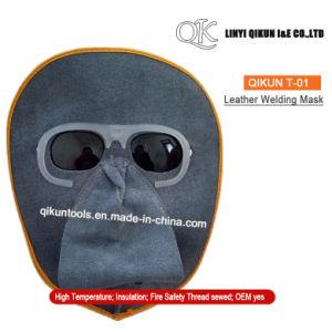 Máscara de soldadura de couro dividido de vaca com proteção de óculos de  segurança –Máscara 7f4bc512fe