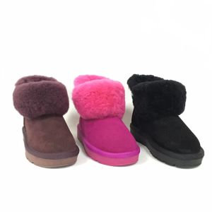 PU solado macio de peles de couro confortáveis Childrens botas de neve