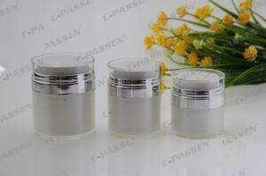 Skincareの包装のための真珠の白いアクリルの空気のないクリーム色の瓶(PPC-ARCJ-010)