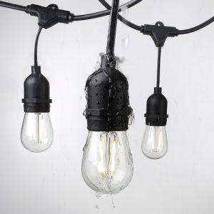 a decoração à prova de intempéries da luz S14 da corda de 48FT ilumina a luz ao ar livre da corda do bulbo do diodo emissor de luz do filamento do vintage