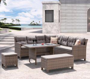 現代余暇の柳細工の藤のテラスのホームホテルのオフィスの屋外の庭の家具(J545-POL)