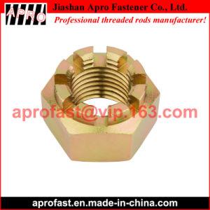 La norme DIN 935 jaune de l'écrou crénelé en acier galvanisé