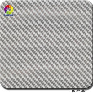 Tsautop 0.5/1m de largura em fibra de carbono cinzento prateado Hydro Dipping Filme para impressão Cúbicos