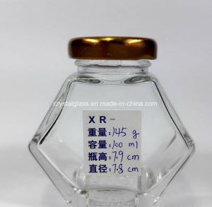 flacher Honig-Glasglas des Hexagon-100ml mit Goldkappe