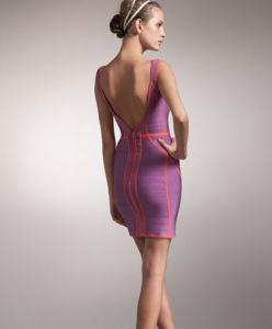 Cinghia Sleeveless con la V profonda - vestito Backless delle donne dalla fasciatura della spazzola del collo
