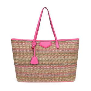 Estilo mexicano bolsas artesanais de palha especial com pega de PU e encerramento de travamento para as mulheres a utilização diária