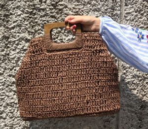 Crochet personalizado papel natural de Bolsas Sacola grande de Palha