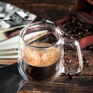 Оптовая торговля 250 мл двойные стенки стеклянный сосуд для молока и кофе