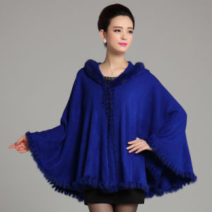 Fashion Acrylic Knitted Rabbitの女性毛皮の冬のショール(YKY4470)