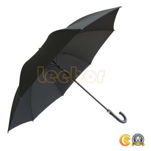 黒いカラー防風のゴルフまっすぐな傘